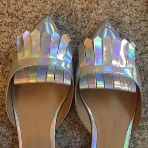 Metallic loafers flats